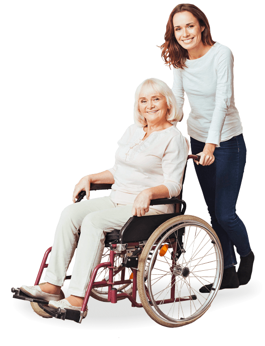 elderly on wheel chair and caregiver smiling